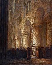 Jan Cossaar (1874-1966) Kerkinterieur. Gesigneerd