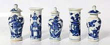 A Chinese blue and white five-part miniature garn