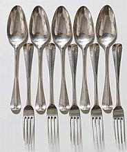 Vijf zilveren tafelcouverts. Meesterteken Anthoni