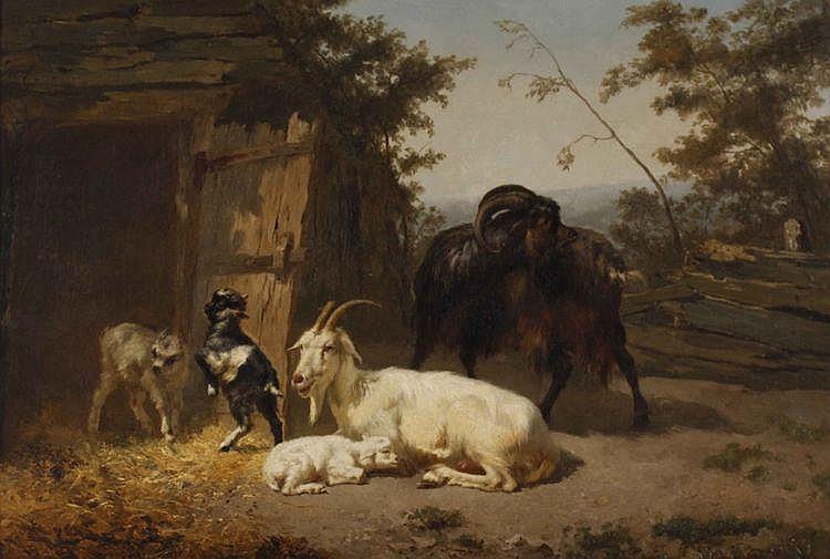 Edouard Woutermaertens (1819-1897) Geitenfamilie