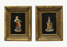pair of Pietra Dura plaques of a man and a woman