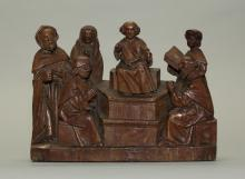 oak carving of Christ among the doctors (15th c.)