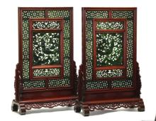 large pair of Chinese spinach jade table screens