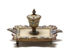 Persian champleve and bronze inkwell (19th c.)