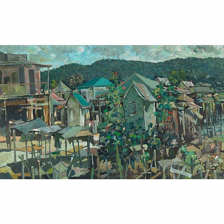 Albert Huie (1920-2010), QUIET SUNDAY OCHO RIOS, JAMAICA, Oil on canvas on masonite; signed lower right, titled to the nameplate, 23