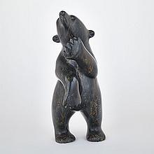 Attr: KULULA ITULU (1952-), STANDING POLAR BEAR, stone, 22.5