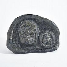 HENRY EVALUARDJUK (1923-2007), HOODED MOTHER AND CHILD, stone, 9