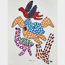 PITSEOLAK ASHOONA (1904-1983), UNTITLED (BIRDS IN FLIGHT), felt tip drawing (unframed), 22.5
