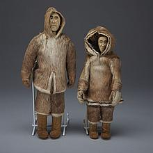 Unidentified, TWO INUIT DOLLS (FEMALE WITH CHILD IN AMAUT), bone, caribou fur, wood, skin, 10.25