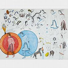 JANET KIGUSIUQ (1926-2005), UNTITLED (LEGEND OF THE ORIGIN OF THE SUN AND THE MOON), coloured pencil and graphite drawing (unframed), 22.25