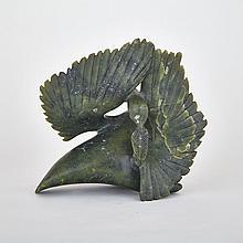 QAVAROAK TUNNILLIE (1928-), PREENING BIRD, stone, 8.5