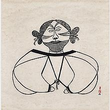 PITSEOLAK ASHOONA (1904-1983), TATTOOED WOMAN, stonecut (unframed), 26