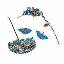 Set of Four Kingfisher and Silver Accessories, 19th Century, widest width 4.3