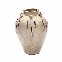 Large White Glazed Storage Jar, Tang Dynasty (618-907), height 25
