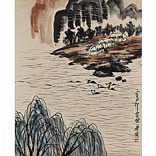 Style of Qi Baishi (1864-1957), TWO LANDSCAPES WITH DUCKS, 25.2