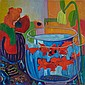 ESTELLE FLEURYPOISSONS ROUGES, oil on canvas; signed; signed, titled, dated '89 on reverse; unframed 30 ins x 30 ins; 76.2 cms x 76.2 cms
