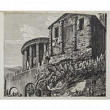 Luigi Rossini (1790-1857), VEDUTA DEL TEMPIO; VEDUTA DELL'ANTICO; INFERNO DEL PRONAO; VEDUTA GENRALE DEL GRAN TEMPIO DELL PACE, Four engravings with letters, Largest Plate/ Smaller 19.75