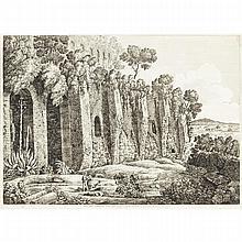 """Luigi Rossini (1790-1857), Italian, AVANZI DELLE SOSTRUZIONO DELLA VILLA DI MARCO BRUTO GIURISTA; AND """"ROVINE DELLA VILLA DI CAJO, Two engravings with letters; one dated 1826 in the plate, Each Plate 14"""