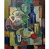 WADIE EL MAHDY (CANADIAN, 1921-2001), STILL LIFE (BOTTLES & JUGS), OIL ON CANVAS; SIGNED LOWER RIGHT (Dominion Gallery, Montreal inventory marking on back) UNFRAMED, STRETCHER ONLY, 24