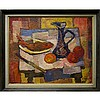 WADIE EL MAHDY (CANADIAN, 1921-2001), STILL LIFE (FISH, WINE AND FRUIT), OIL ON CANVAS; SIGNED LOWER RIGHT; TITLED TO GALLERY LABEL VERSO, 24