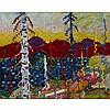 ALEX CAMERON, BLUE ORANGE LEAVES, oil on canvas, 30.25 ins x 38.25 ins; 76.8 cms x 97.2 cms