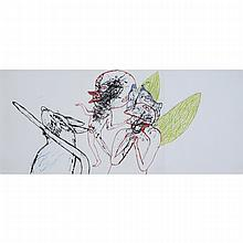 ED PIEN, BEAK BOYS AND HIS FRIENDS, 2003-05, ink and flashe on paper, 11 ins x 25.25 ins; 27.9 cms x 64.1 cms