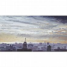 BRIAN KIPPING, SKYLINE LOOKING WEST, oil on linen, laid down on wood, 7 ins x 13 ins; 17.8 cms x 33 cms