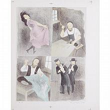 Raphael Soyer (1899-1987), FOUR SCENES OF JEWISH LIFE, Colour lithograph; signed and numbered A.P. in pencil to margin. Full margins with colour registration marks., Sheet 26.25