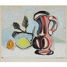 After Pablo Picasso (1881-1973), NATURE MORTE AU CITRON ET UN PICHET ROUGE, CIRCA 1955, Colour aquatint; signed and numbered 39/300 in pencil to margin. Published and printed by Atelier Crommelynck., Plate 13.75