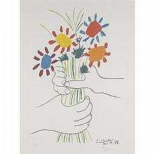 After Pablo Picasso (1881-1973), FLEURS (PAZ ESTOCOLMO), 1958, Colour lithograph; bears signature and numbered in an edition of 200 in pencil, 22