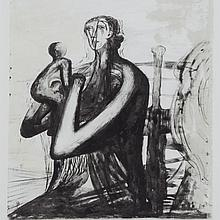 Henry Moore (1898-1986), MOTHER AND CHILD, 1976 [CRAMER, 431], Lithograph; signed and numbered 9/50 in pencil to margin. Published by The Art Gallery of Ontario, Toronto in 1976. Printed by Curwen Prints Ltd., London., Image 11.5