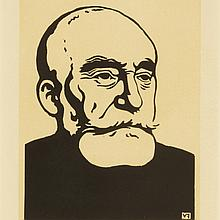 Felix Edouard Vallotton (1865-1925), PORTRAIT OF PUVIS DE CHAVANNES, Woodcut; signed in the plate. Published by The Studio and bearing their red stamped publishing symbol in the lower right corner., Image 7