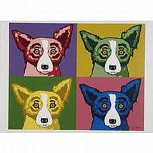 George Rodrigue (1944- 2013), FOUR DOGS, Colour silkscreen; signed in gold  ink and numbered 82/90 in pencil to the image, Image 23