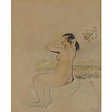 Pierre-Auguste Renoir (1841-1919), SEATED FEMALE NUDE, Colour lithograph; signed in the plate lower right, Image sight 7.5