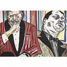 Frederick James Brown (1945-2012), DEXTER GORDON; SARAH VAUGHAN; JOHN COLTRANE; JOHNNIE HODGES; OSCAR PETERSON; LOUIS ARMSTRONG (FROM PORTRAITS OF EXCELLENCE), Six colour silkscreens; each signed, dated 2005, the first five numbered HC 4/5 in pencil,