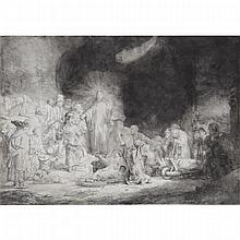 Rembrandt van Rijin (1606-1669), CHRIST HEALING THE SICK (THE HUNDRED GUILDER PRINT), CIRCA 1639, [B. 74], [H. 236 II/III], Etching, engraving and aquatint. on laid paper with watermark of a Strasbourg Lily with countermark IHS surmounted by a cross,
