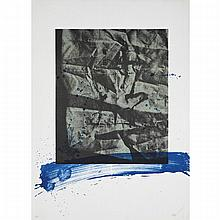 Antoni Clave (1913-2005), UNTITLED (BLUE BRUSHSTROKE), Colour lithograph; signed and numbered 84/90 in pencil to margin. Unframed., Sheet 30