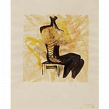 Henry Moore (1898-1986), BLACK SEATED FIGURE ON ORANGE GROUND (COLOUR VARIATION) (FROM SHELTER SKETCHBOOK),1966 [CRAMER, 80], Colour lithograph on chine-colle paper mounted on an un-watermarked paper support sheet; signed and dated