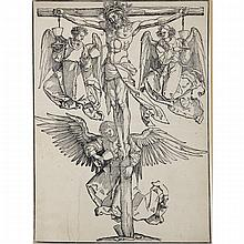 Albrecht Durer (1471-1528), CHRIST ON THE CROSS WITH THREE ANGELS, SECOND STATE, Woodcut on laid paper with crowned coat of arms and fleur-de-lys watermark with countermark indistinct initials (G.X.?); Inscribed H. Fussli and Cie (publishers) in