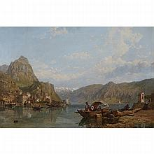 George Clarkson Stanfield (1828- 1878), LACO COMO, Oil on canvas; signed beneath the wayside chapel at the mid right, titled in pencil to the stretcher, 19.75