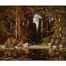 Thomas Edwin Mostyn (1864-1930), AN ESTATE GARDEN, CIRCA 1920, Oil on canvas, 36
