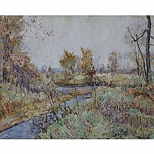 Walter Emerson Baum (1884-1956), BRANCH CREEK, Oil on canvas; signed and dated 1918 lower right, titled to the frame and stretcher verso, 32