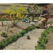 Irving Ramsey Wiles (1861-1948), IN THE GARDEN, Oil on braced panel; signed and dated 1887 lower left, indistinctly titled and inscribed on an old paper label verso, 12