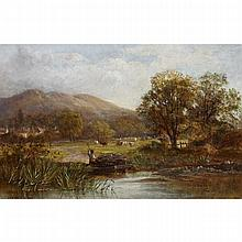 Worthington Whittredge (1820-1910), FARMER TENDING TRAP IN A RIVER WITH COWS GRAZING (ON THE HUDSON RIVER?), Oil on canvas; signed lower left, 9