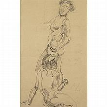 Oskar Kokoschka (1886-1980), TWO NUDES, Conte drawing; signed with initials  lower right, 17.25