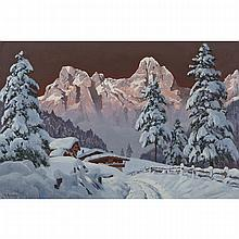 Alois Arnegger (1879-1967), SNOW COVERED ALPINE CABINS, Oil on canvas; signed lower left, 24.25