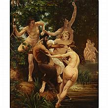 Vojtech Adalbert Hynais (1854-1925), LES NYMPHES ET LE SATYRE, 1873 AFTER WILLIAM ADOLPHE BOUGUEREAU (1825-1905), Oil on canvas; signed lower right, titled and dated 1883 at Wien to the stretcher, 27