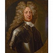 Attributed to Sir Godfrey (Gottfried) Kneller (1646-1723), PORTRAIT OF A MAN IN ARMOUR (FRANCIS, 2ND EARL OF GODOLPHIN)?, Oil on canvas; feigned oval, 30
