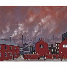 Geoffrey W. Birks (1929-1993), RED BRICK HOUSES, Oil on masonite; signed and dated 1988 lower left. Unframed., 19.75