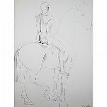 Dame Elisabeth Frink (1930-1993), MAN ON HORSE V, Pencil drawing on paper; signed and dated '79 lower right, titled to gallery label verso, Sheet 30